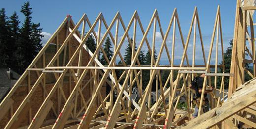 Custom framing and roof trusses for South Surrey home